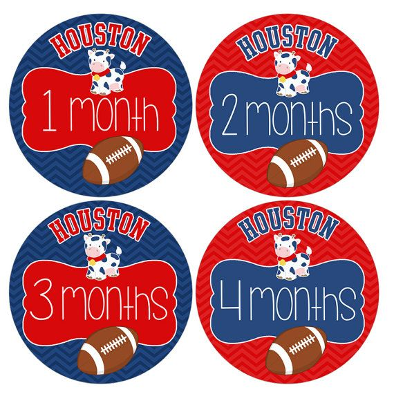 Set of 12 Round Monthly Stickers Houston Texas Texans NFL Football in Red and Navy Blue with Baby Bull by HeadsUpGirlsBaby, $12.00
