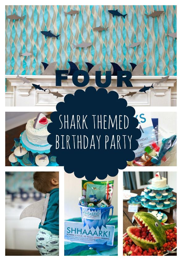 This shark party is so cute! I love the ocean background with streams and swimming sharks, so easy and cute!
