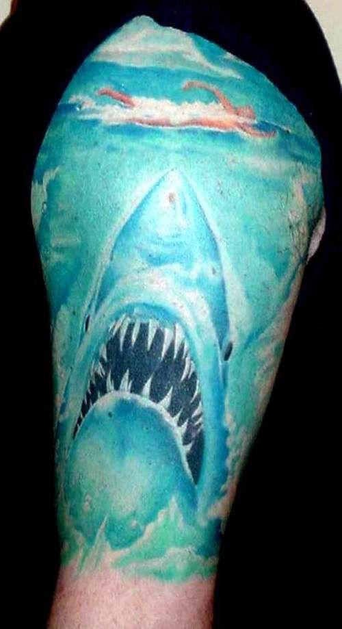 Jaw Drop Girl Tattoo Roses: 22 Jaw-Dropping Shark Tattoos [Photos