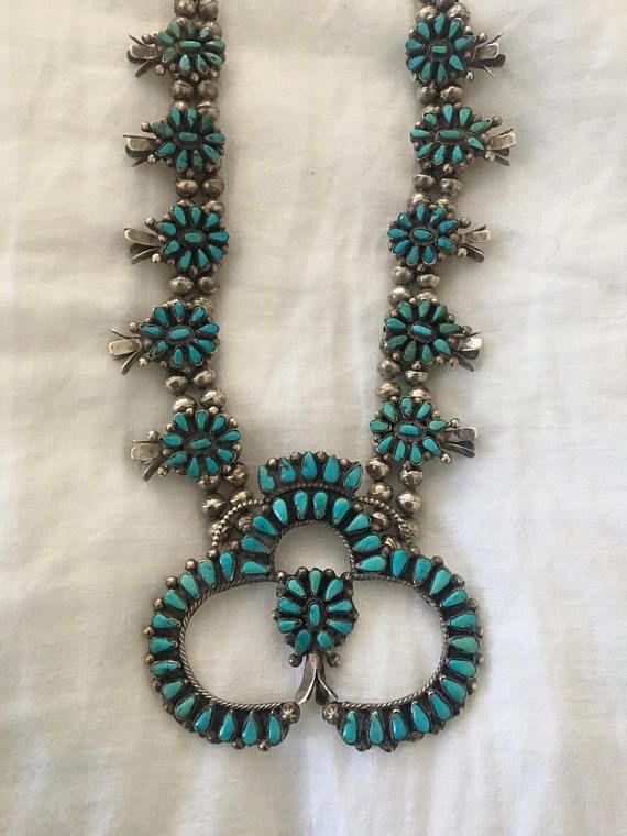 Unique 1950s Native American Squash Blossom Necklace Zuni