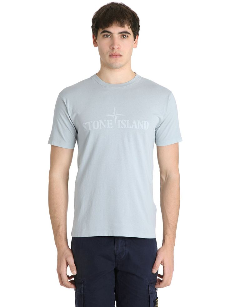 STONE ISLAND LOGO PRINTED COTTON T-SHIRT. #stoneisland #cloth #