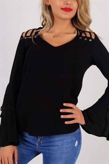 Kolları Volan Omuz Detay Siyah Bayan Bluz 5542B