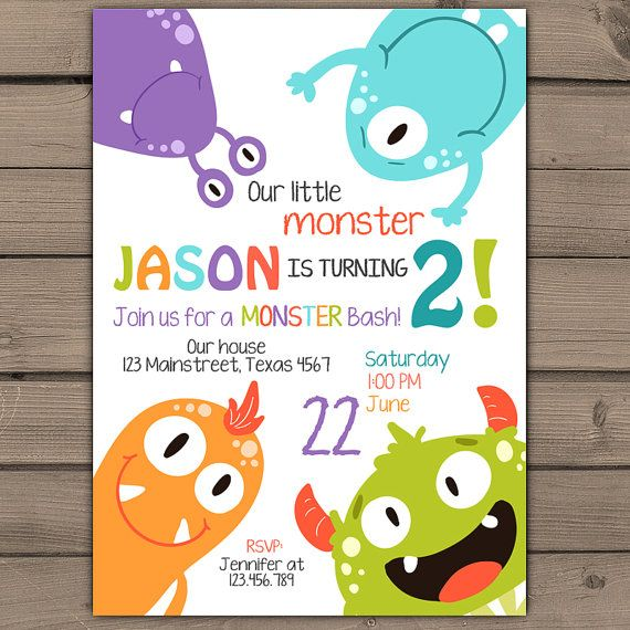 Monster birthday invitation Monster party by Anietillustration