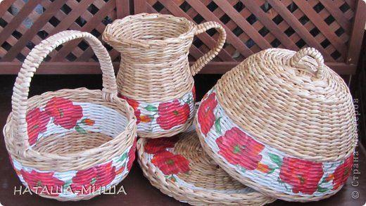Поделка изделие Декупаж Плетение Наборчик МАКИ  или красные цветы   Салфетки Трубочки бумажные фото 1