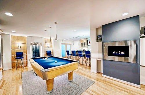 Modern Billiard Room with Billiard Table Wood Tile Floor Decorative Lighting Ideas