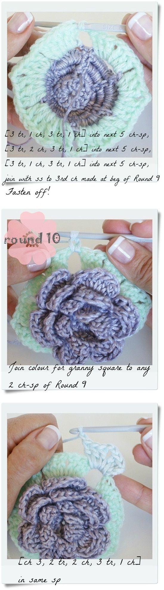 18 petal rose squaretutorial - i love pom-poms blog - i love pom-poms