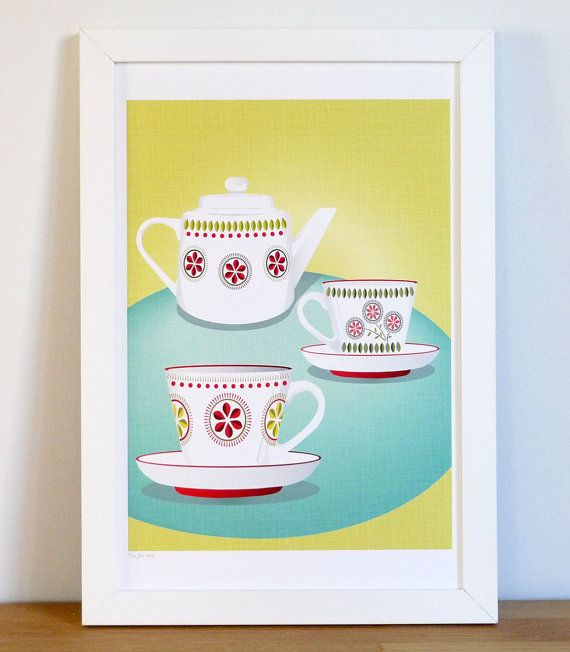 Tea for two  Retro styled art print by lauraamiss on Etsy, €10.50