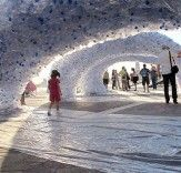 A freestanding sculpture made from thousands of salvaged PET bottles popped up at the Venice