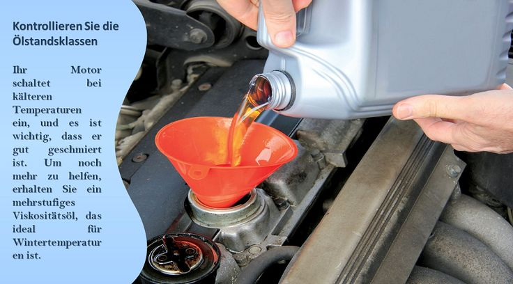 Überprüfen / wechseln Sie Ihr Öl Kaltes Wetter macht das Öl in Ihrem Auto dicker laufen, und einige Hersteller empfehlen, mit niedrigeren Viskosität Öl für die kalten Monate. Erste frische Ölwechsel vor dem Winter, und die Umstellung auf dünnere Viskosität Öl, wird dazu beitragen, Ihr Auto laufen zuverlässiger in der Kälte. #winterreifen
