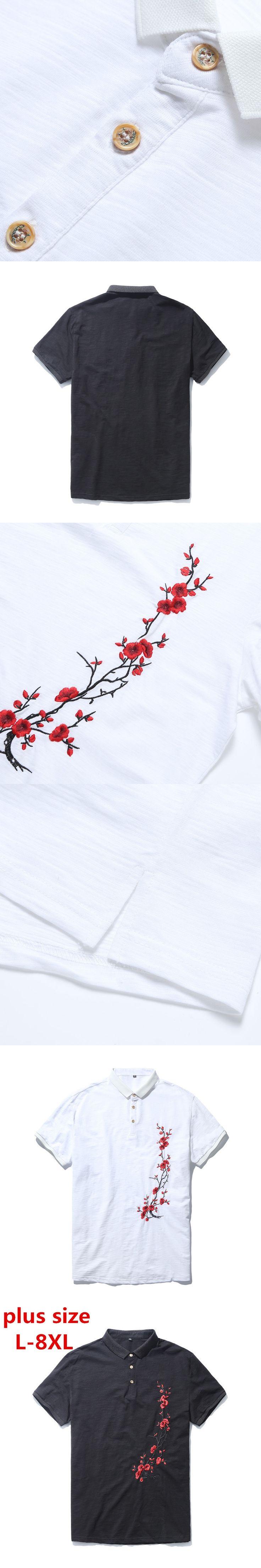 Plus size 8xl 7xl 6xl 5xl 4xl Embroidery Men Polo Shirt Slim Fit Short Sleeve 100% Cotton Brand Clothing Fashion Summer big size