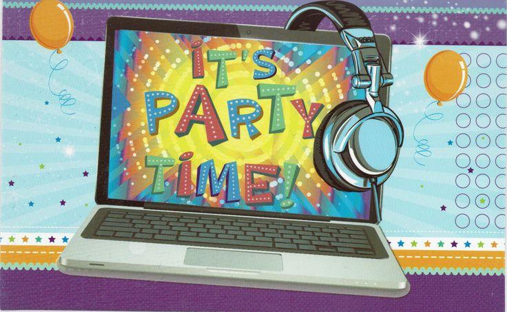 It's Party Time!  verjaardagskaart met PC