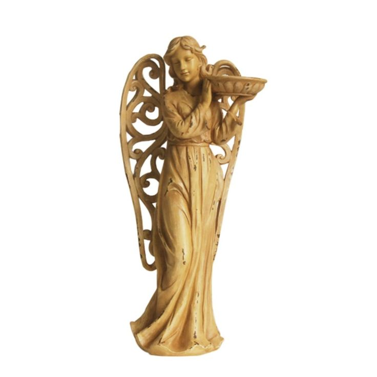 Angel with Scrolled Wings Indoor Outdoor Statue