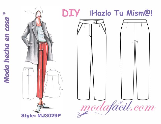 Descarga gratis los patrones del Pantalón para Dama de Cintura Alta ...