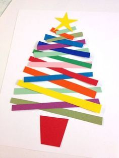Christmas tree craft from paper strips. Make into wall art, card or laminate as placemats.
