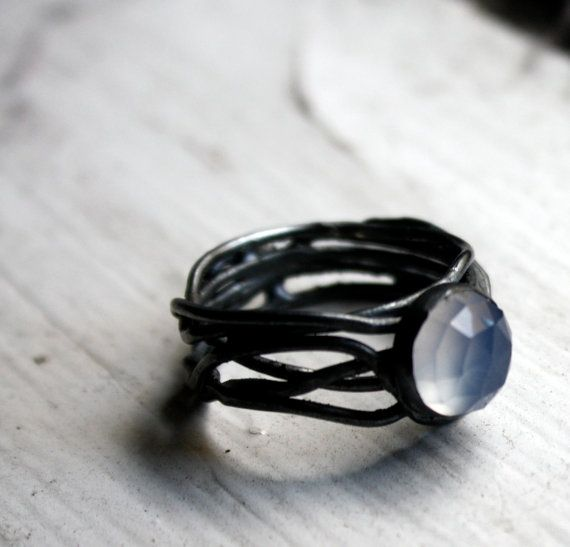 Tangled chalcedony ring from etsy seller luckyduct.