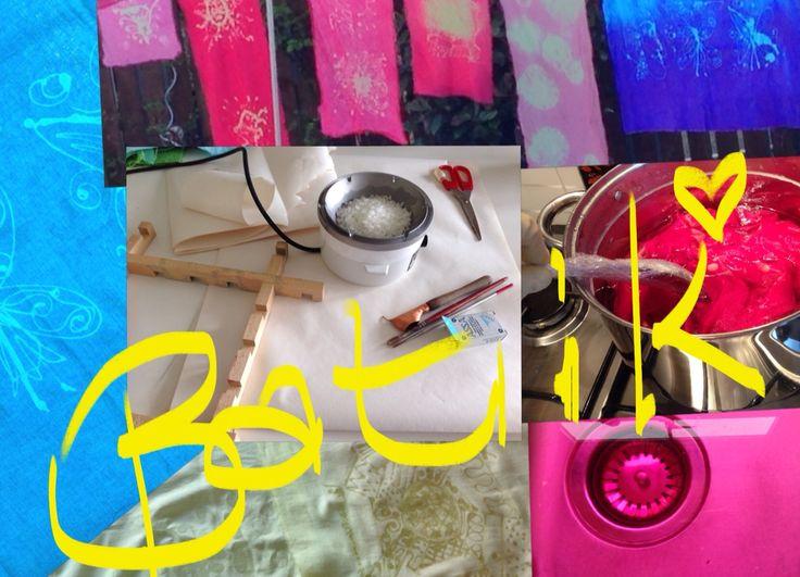 Batik using Tjanting and hot wax to create colourful dyed fabrics. Blog post about my latest art challenge #inspirebykim #sheffieldart #batik #art #kimkr