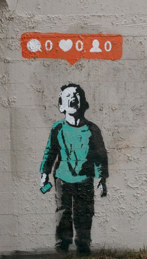 "Banksy, is represented as society today. People feel sad and wrong if we do not receive any ""likes"" on a social network."
