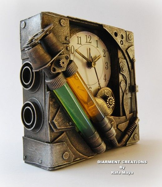 Steampunk Bicomponent Clock by ~Diarment on deviantART / A clock, cardboard, plastic & paint were used to create this piece.