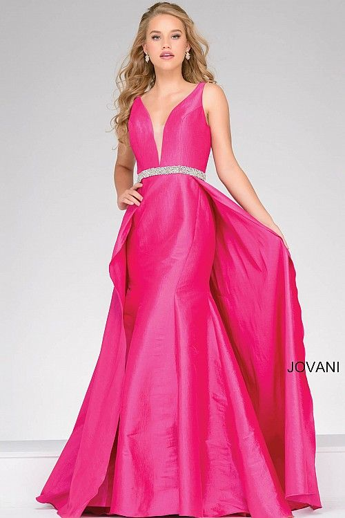 Fuchsia V Neck Embellished Belt Prom Dress 42401