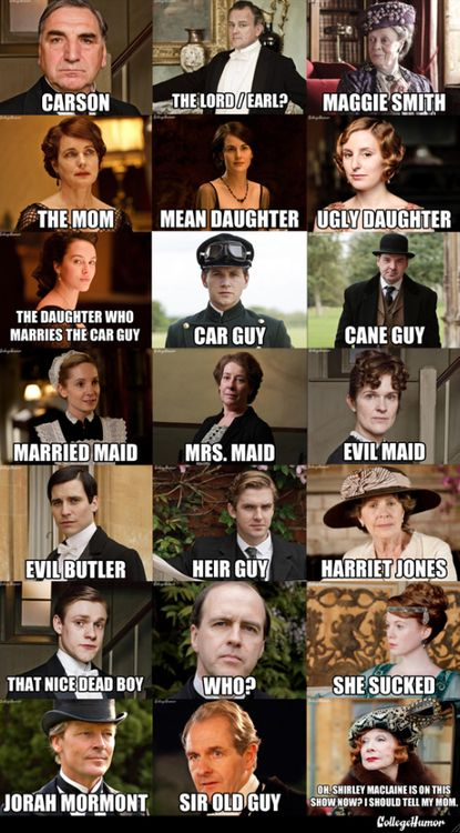 Downton Abbey Character Name Guide    hee hee maggie smith and harriet jones......that's what i've been calling them from the get-go