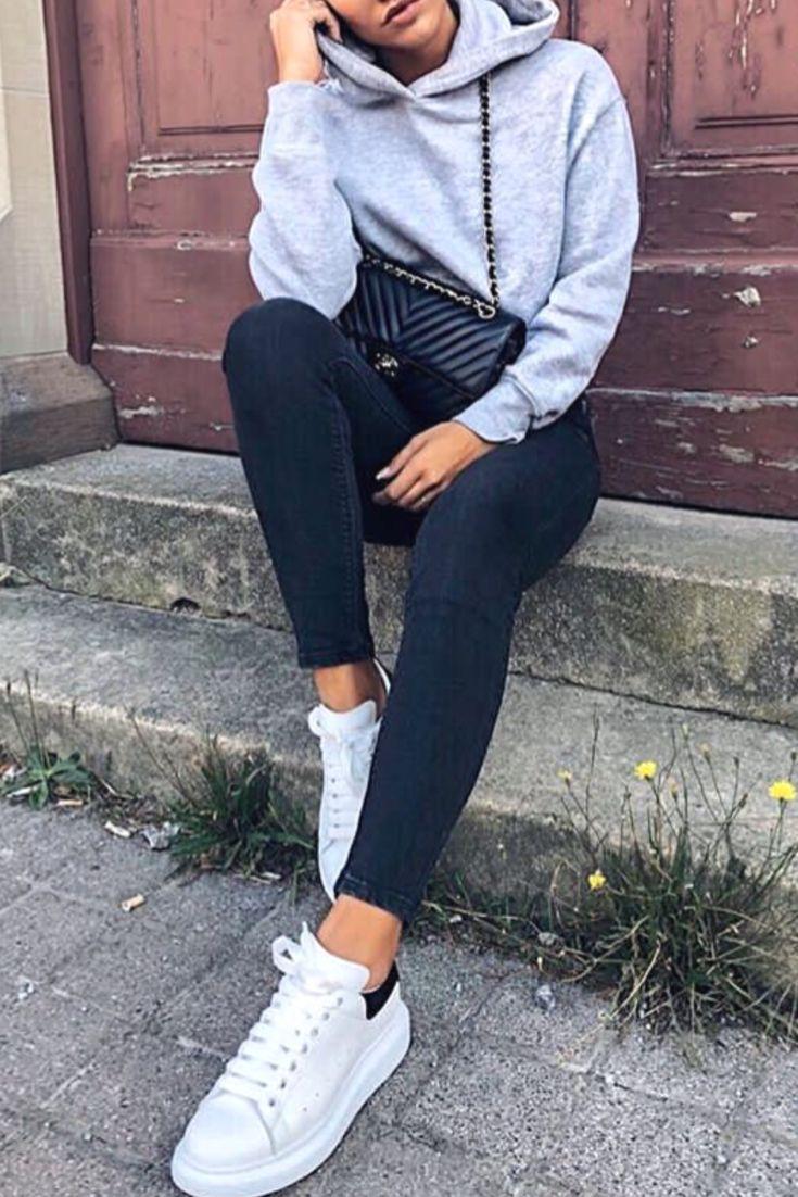 Gris Avec Tenue Un Streetwear Automnehiver Sweat Femme Mode 4R3LAj5