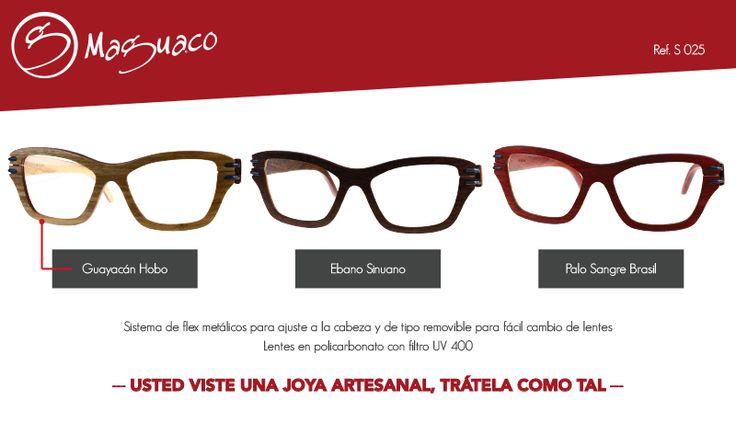 Gafas de sol en madera con filtro UV marca Maguaco S025. $200.000 COP