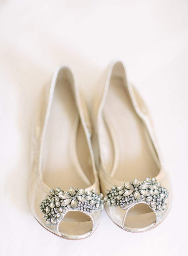 Peep Toe Bridal Flats Flat ShoesGold