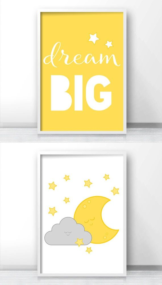 Nursery set of 2, Dream big nursery quote, Moon and stars nursery wall art, Gray and yellow nursery decor