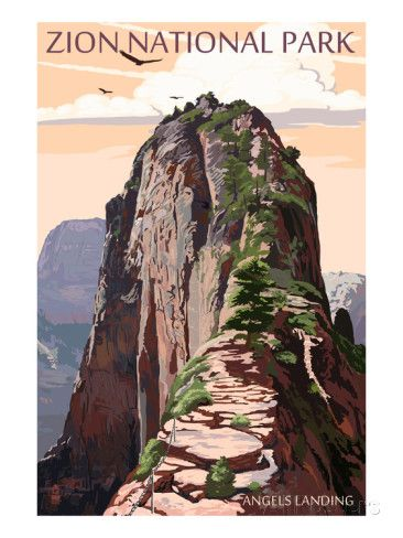 Zion National Park - Angels Landing and Condors Reproduction d'art