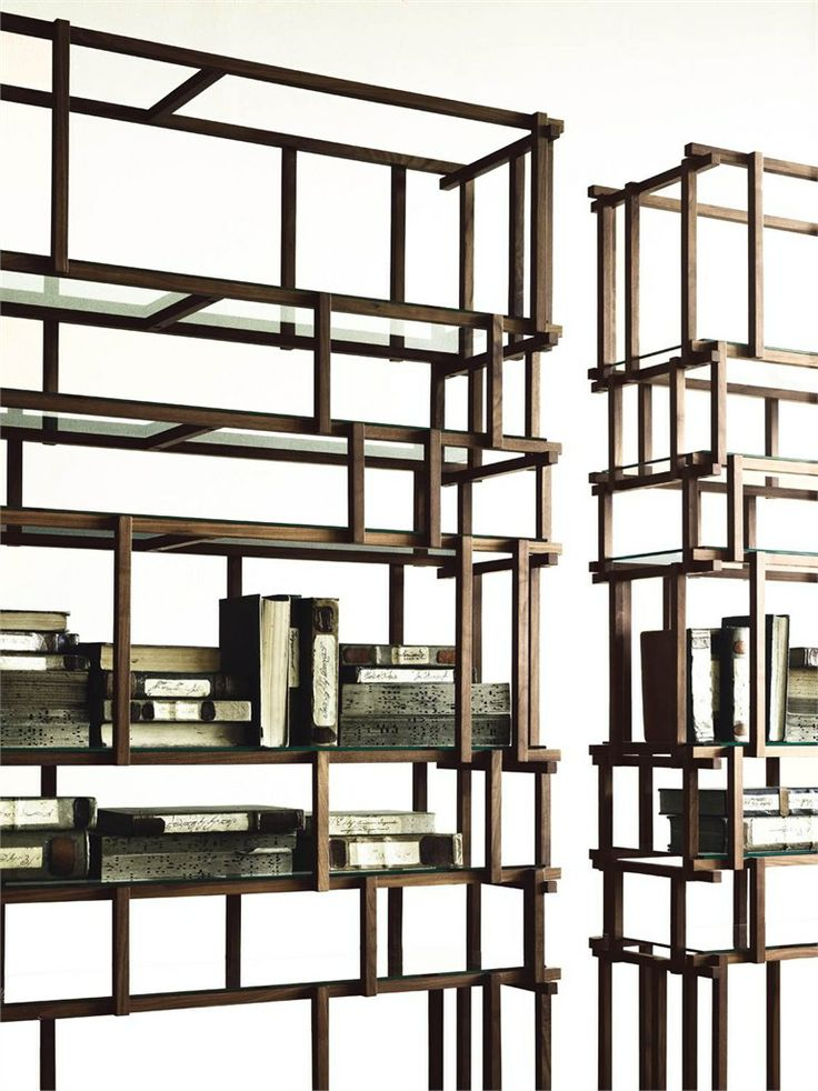 Interesting and open divider wooden bookcase. Love this design!