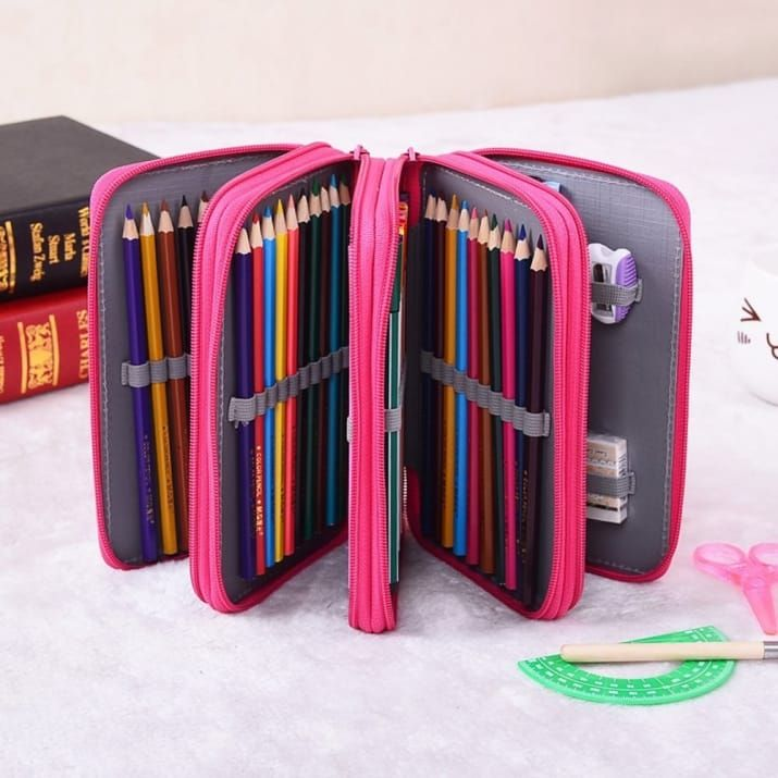 """Promising review: """"I bought this for my wife to hold her gel pens for her coloring books. This little case holds them neatly without taking up space and falling all over the place. I was surprised that such a small case could hold so many pens. The wife liked it so much I ended up buying her two more, one in pink and one in black, to hold her colored pencils and a second set of pens."""" —Gene S.Get it from Amazon for $13.99 (available in two colors)."""