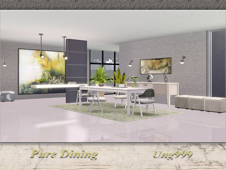 Pure Dining By The Sims This Modern Room Set Contains 11 Items Ceiling Lamp Console Table Chair 2 Paintings Divider Rug