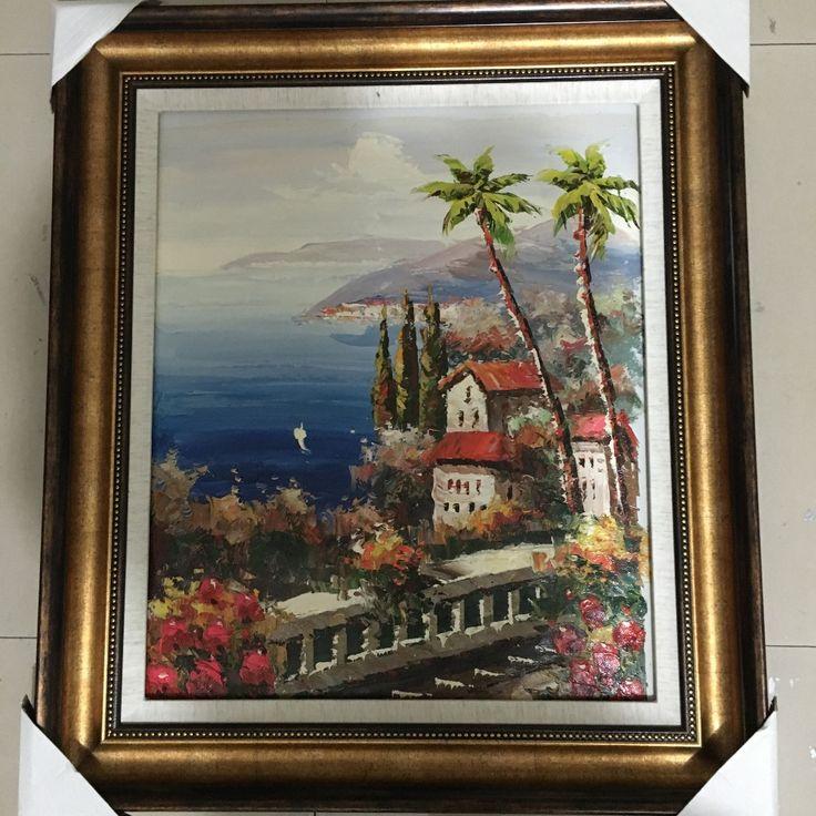Ручной нож средиземное море коко дерево декорации ручной росписью маслом дом стены искусства украшения рисование без рамки