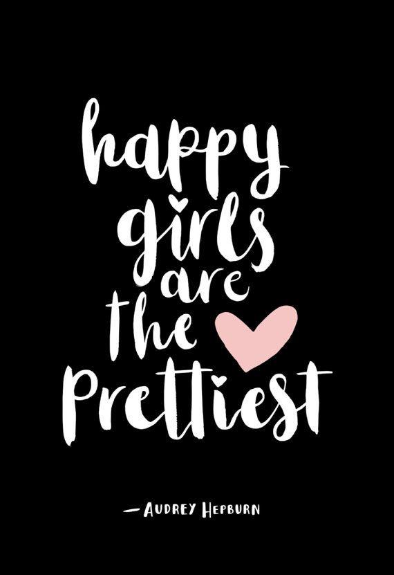Teen Girl Room Decor, Audrey Hepburn Quote, Nursery Wall Art, Girls Room Print, Inspirational Art, Girl Gift, Minimalist Girls Decor, Happy Girls