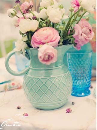 I love the idea of using a pitcher as a vase. And I really love the color and the flowers, peonies are one of my favorites.
