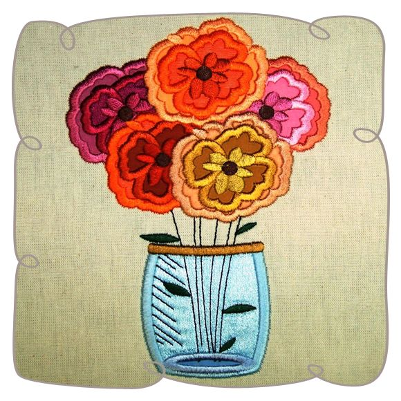 Flower Jar Applique
