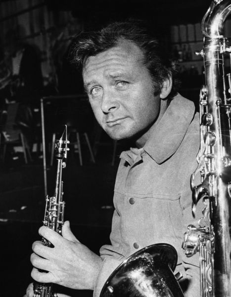 The American jazz musician Stan Getz (1927-1991) with a tenor saxophone and a clarinet.