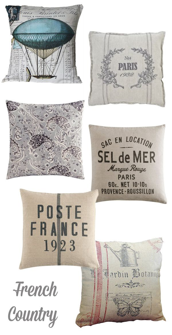 French-country-pillows. I want these for my house.