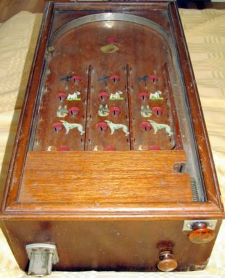 antique wooden pinball machine