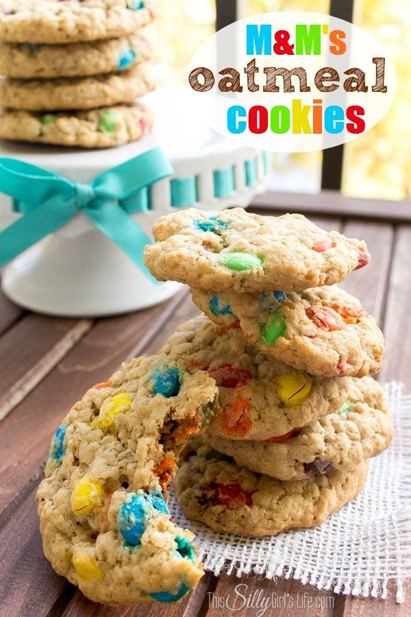 M&M's Oatmeal Cookies recipe. Some of the best cookies you'll ever eat, soft, chewy cookies loaded with M&M's, delicious!! #BakingIdeas #shop #cbias