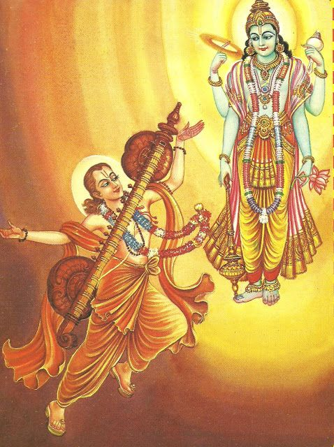 Narada: SB 1.6.32: And thus I travel, constantly singing the transcendental message of the glories of the Lord, vibrating this instrument called a vīṇā, which is charged with transcendental sound and which was given to me by Lord Kṛṣṇa. Chapter 6, Conversation Between Narada and Vyasadeva