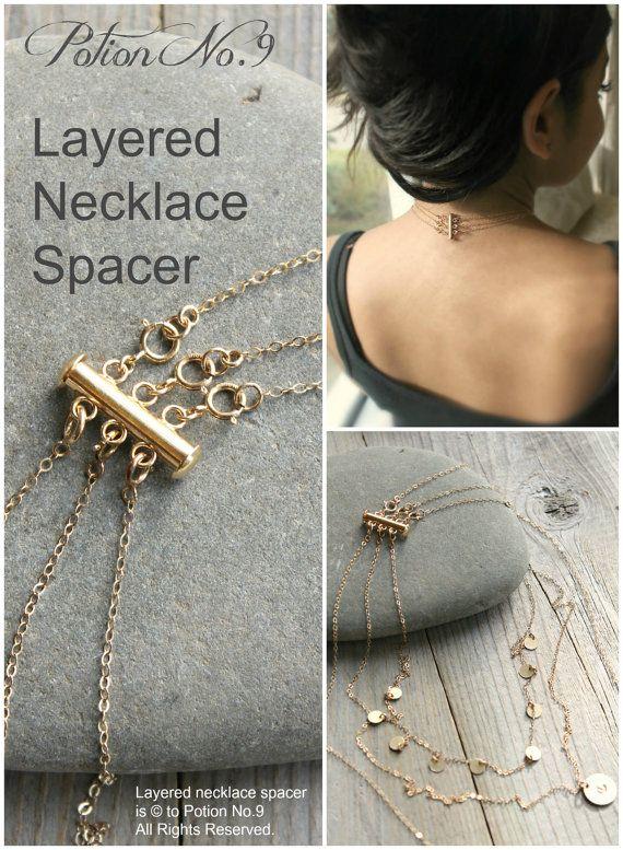 Geschichtete Halskette Abstandhalter Verschluss, Gold, Silber oder gold, Rose…