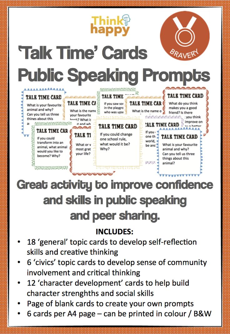 Great resource to promote Public Speaking, or develop conversation skills. Meets Speaking & Listening curriculum outcomes. www.designedbyteachers.com.au/shop/thinkhappy