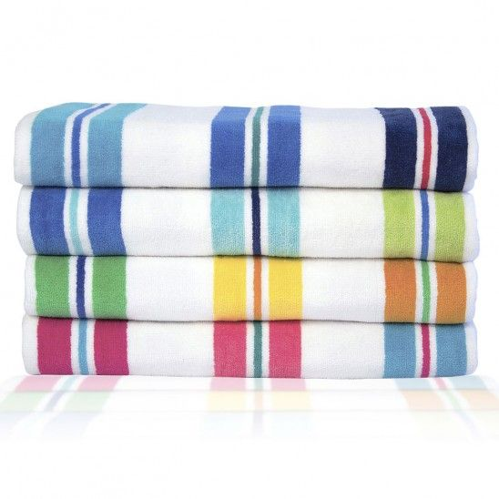Multi Stripe Velour Beach Towel