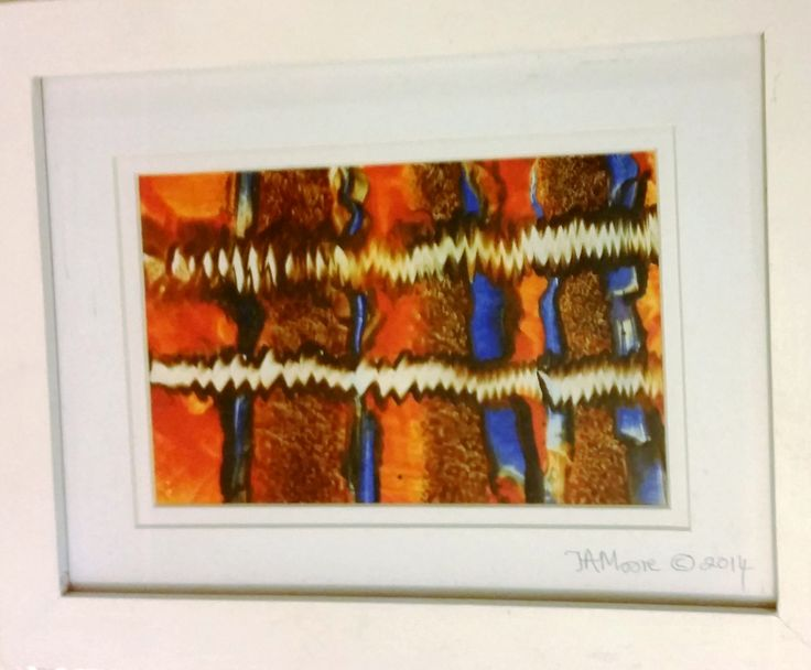 """FOR SALE: """"Orange Fizz"""" encaustic painting A5 size. Includes frame & hanging wire. $50 + $5 postage."""