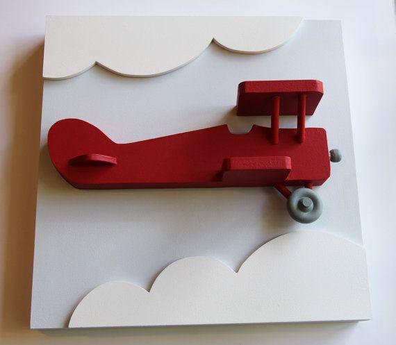 Avión 3D de madera rojo decoración de la pared para cuartos de niños y…
