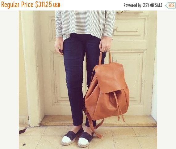 On Sale Brown Leather Backpack Travel Bag School Bag by MeitaLev
