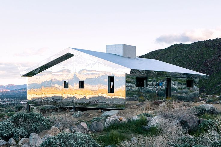 Doug Aitken - Mirage, a low, mirror-clad house inspired by Frank Lloyd Wright's residences, located in the Coachella Valley