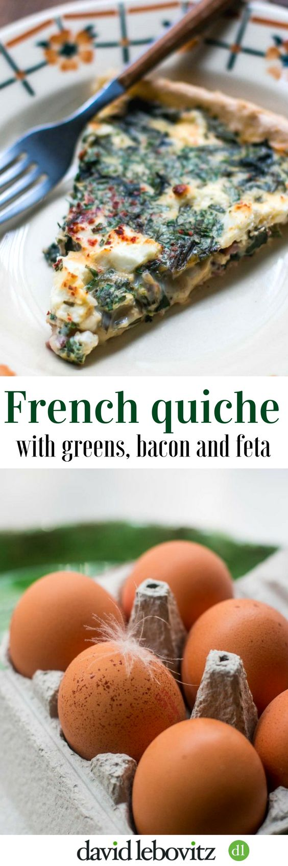 A French quiche recipe with greens, bacon and feta. The perfect lunch!