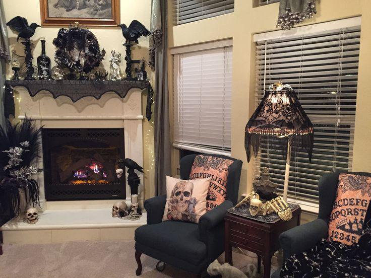 Raven Marie Halloween 2016 Living Room Mantle Crows Wreath Skulls And Skeleton